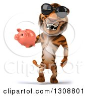 Clipart Of A 3d Tiger Wearing Sunglasses Walking And Holding A Piggy Bank Royalty Free Illustration