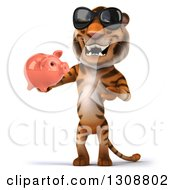 Clipart Of A 3d Tiger Wearing Sunglasses Holding And Presenting A Piggy Bank Royalty Free Illustration
