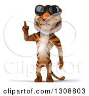 Clipart Of A 3d Tiger Wearing Sunglasses And Holding Up A Finger Royalty Free Illustration