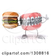 Clipart Of A 3d Metal Mouth Teeth Mascot With Braces Holding Up A Finger And A Double Cheeseburger Royalty Free Illustration
