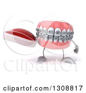 Clipart Of A 3d Metal Mouth Teeth Mascot With Braces Holding A Beef Steak Royalty Free Illustration