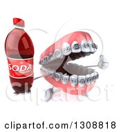 Clipart Of A 3d Metal Mouth Teeth Mascot With Braces Holding Up A Thumb And Soda Bottle Royalty Free Illustration