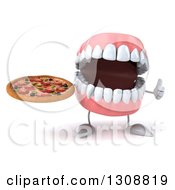 Clipart Of A 3d Mouth Teeth Character Giving A Thumb Up And Holding A Pizza Royalty Free Illustration