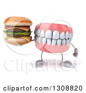 Clipart Of A 3d Mouth Teeth Character Holding A Double Cheeseburger Royalty Free Illustration