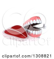 Clipart Of A 3d Mouth Teeth Character Giving A Thumb Up And Holding A Beef Steak Royalty Free Illustration