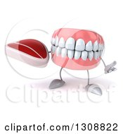 Clipart Of A 3d Mouth Teeth Character Shrugging And Holding A Beef Steak Royalty Free Illustration