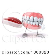 Clipart Of A 3d Mouth Teeth Character Holding And Pointing To A Beef Steak Royalty Free Illustration