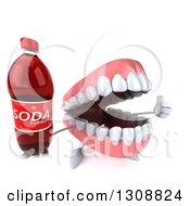 Clipart Of A 3d Mouth Teeth Character Holding Up A Thumb And Soda Bottle Royalty Free Illustration