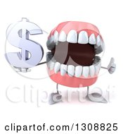 3d Mouth Teeth Character Holding A Thumb Up And Dollar Symbol