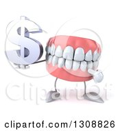3d Mouth Teeth Character Holding And Pointing To A Dollar Symbol