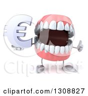 3d Mouth Teeth Character Giving A Thumb Up And Holding A Euro Symbol