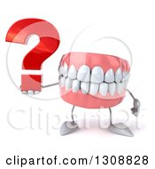 3d Mouth Teeth Character Holding A Question Mark