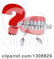 3d Mouth Teeth Character Facing Slightly Right Jumping And Holding A Question Mark