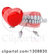 3d Mouth Teeth Character Facing Slightly Right Jumping And Holding A Heart