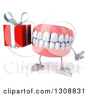 3d Mouth Teeth Character Shrugging And Holding A Gift