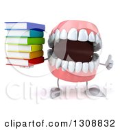 3d Mouth Teeth Character Giving A Thumb Up And Holding A Stack Of Books
