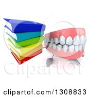 3d Mouth Teeth Character Holding Up A Stack Of Books