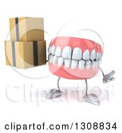 3d Mouth Teeth Character Shrugging And Holding Boxes
