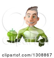 Clipart Of A 3d Young Brunette White Male Super Hero In A Green Suit Holding A Bell Pepper Over A Sign Royalty Free Illustration