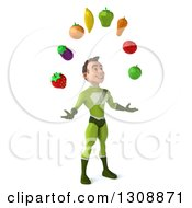 Clipart Of A 3d Young Brunette White Male Super Hero In A Green Suit Facing Slightly Right And Juggling Produce Royalty Free Illustration