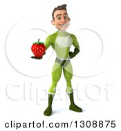 Clipart Of A 3d Young Brunette White Male Super Hero In A Green Suit Holding A Strawberry Royalty Free Illustration