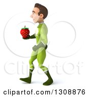 Clipart Of A 3d Young Brunette White Male Super Hero In A Green Suit Walking To The Left And Holding A Strawberry Royalty Free Illustration