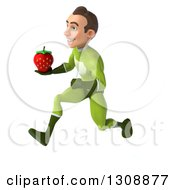 Clipart Of A 3d Young Brunette White Male Super Hero In A Green Suit Sprinting To The Left And Holding A Strawberry Royalty Free Illustration