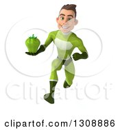 Clipart Of A 3d Young Brunette White Male Super Hero In A Green Suit Sprinting And Holding A Bell Pepper Royalty Free Illustration