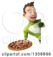 Clipart Of A 3d Young Brunette White Male Super Hero In A Green Suit Holding A Pizza And Looking Around A Sign Royalty Free Illustration