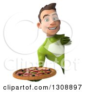 Clipart Of A 3d Young Brunette White Male Super Hero In A Green Suit Holding A Pizza Around A Sign Royalty Free Illustration