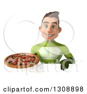 Clipart Of A 3d Young Brunette White Male Super Hero In A Green Suit Holding A Pizza Over A Sign Royalty Free Illustration