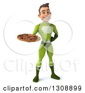 Clipart Of A 3d Young Brunette White Male Super Hero In A Green Suit Holding A Pizza Royalty Free Illustration