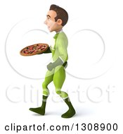 Clipart Of A 3d Young Brunette White Male Super Hero In A Green Suit Walking To The Left And Holding A Pizza Royalty Free Illustration