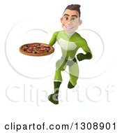 Clipart Of A 3d Young Brunette White Male Super Hero In A Green Suit Sprinting And Holding A Pizza Royalty Free Illustration