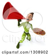 Clipart Of A 3d Young Brunette White Male Super Hero In A Green Suit Holding A Pizza And Using A Megaphone Royalty Free Illustration