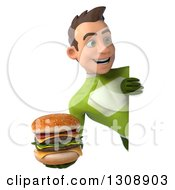 Clipart Of A 3d Young Brunette White Male Super Hero In A Green Suit Holding A Double Cheeseburger Around A Sign Royalty Free Illustration