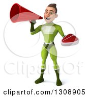 Clipart Of A 3d Young Brunette White Male Super Hero In A Green Suit Holding A Beef Steak And Using A Megaphone Royalty Free Illustration