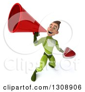 Clipart Of A 3d Young Brunette White Male Super Hero In A Green Suit Holding A Beef Steak And Using A Megaphone 2 Royalty Free Illustration