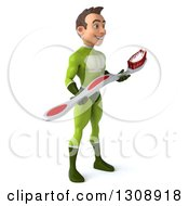 Clipart Of A 3d Young Brunette White Male Super Hero In A Green Suit Facing Right And Holding A Toothbrush Royalty Free Illustration