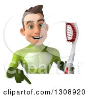 Clipart Of A 3d Young Brunette White Male Super Hero In A Green Suit Holding A Giant Toothbrush And Pointing Down At A Sign Royalty Free Illustration