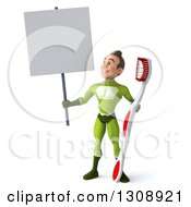 Clipart Of A 3d Young Brunette White Male Super Hero In A Green Suit Holding A Blank Sign And Giant Toothbrush Royalty Free Illustration