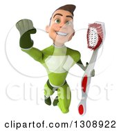 Clipart Of A 3d Young Brunette White Male Super Hero In A Green Suit Flying And Holding A Toothbrush Royalty Free Illustration