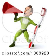 Clipart Of A 3d Young Brunette White Male Super Hero In A Green Suit Holding A Toothbrush And Using A Megaphone Royalty Free Illustration