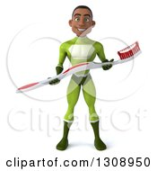 Clipart Of A 3d Young Black Male Super Hero In A Green Suit Holding A Giant Toothbrush Royalty Free Illustration