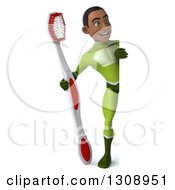 Clipart Of A 3d Full Length Young Black Male Super Hero In A Green Suit Holding A Giant Toothbrush Around A Sign Royalty Free Illustration