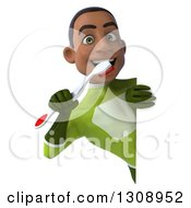 Clipart Of A 3d Young Black Male Super Hero In A Green Suit Holding A Toothbrush Around A Sign Royalty Free Illustration