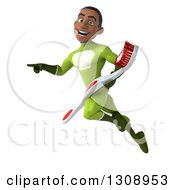 Clipart Of A 3d Young Black Male Super Hero In A Green Suit Flying Pointing And Holding A Giant Toothbrush Royalty Free Illustration