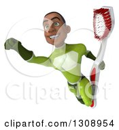 Clipart Of A 3d Young Black Male Super Hero In A Green Suit Flying And Holding A Giant Toothbrush Royalty Free Illustration