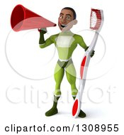 Clipart Of A 3d Young Black Male Super Hero In A Green Suit Holding A Giant Toothbrush And Using A Megaphone Royalty Free Illustration