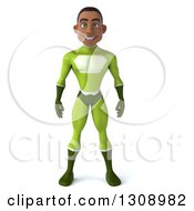Clipart Of A 3d Young Black Male Super Hero In A Green Suit Royalty Free Illustration by Julos